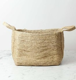 "Natural Jute Rectangular Storage Basket with Handles - 18"" x 12"""
