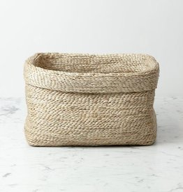 "Natural Jute Simple Fold Over Top Rectangular Storage Basket - 10"" x 13"""
