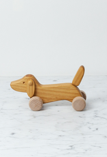 Wooden Dachshund on Wheels - Natural - Small