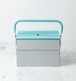 Folding Tool Box - Large - Light Grey and Mint Green