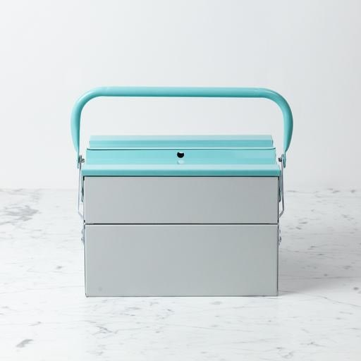 Folding Toolbox - Large - Light Grey and Mint Green
