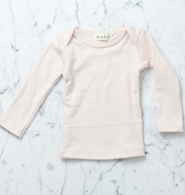 Mabo Kids Organic Cotton Long Sleeve Tee Shirt - Blush Pink - 3 Month
