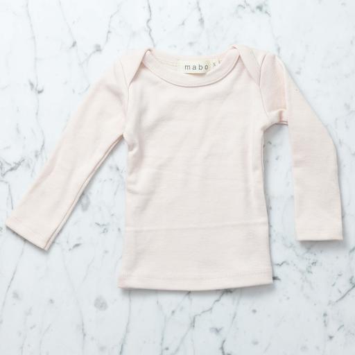 Mabo Kids Organic Cotton Long Sleeve Tee Shirt - Blush Pink - 3 Month