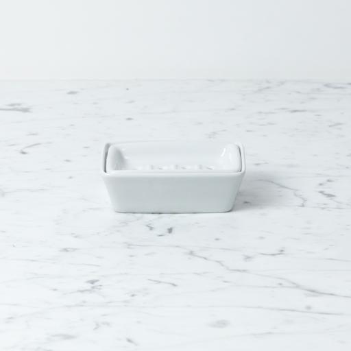 Belgian Porcelain Soap Dish - 2 Parts - White