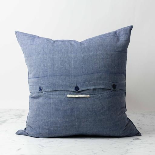 Tensira Handwoven Cotton Pillow With Down Insert Off White Navy