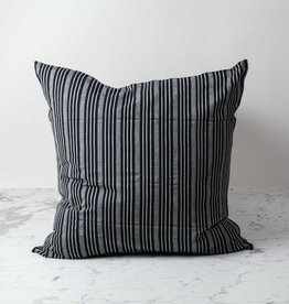 TENSIRA Handwoven Cotton Pillow with Down Insert - Black + Off White Thick Stripe - 24 x 24 in