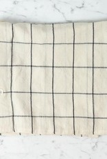 TENSIRA Handwoven Cotton Pillowcase - Button Closure - Off White with Black Check - 24 x 24 in