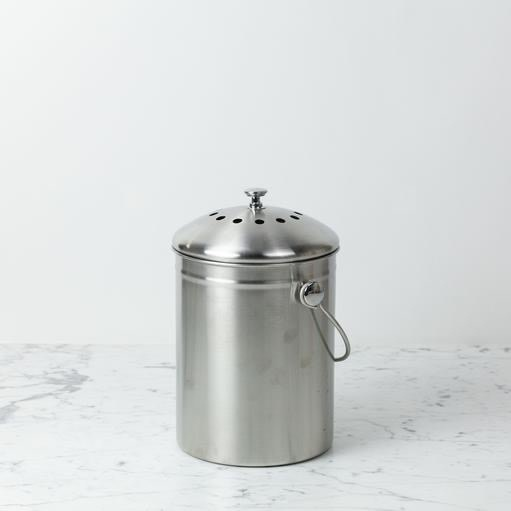 Stainless Steel Compost Bin with Charcoal Filter Lid - 1.3 gal