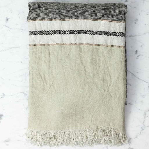 "Libeco Home Belgian Linen Fouta Towel - Beeswax Stripe - 43 x 71"""