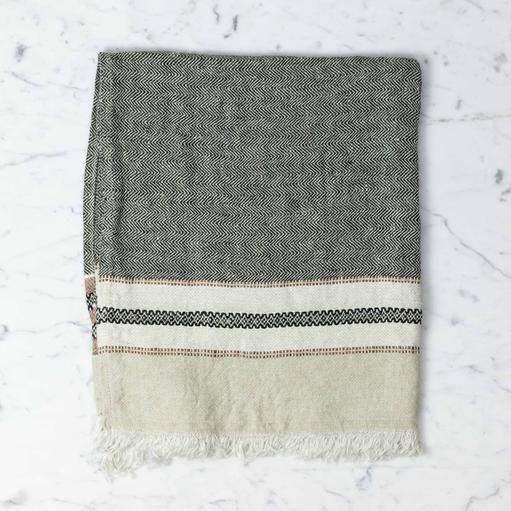 Libeco Home Belgian Linen Guest Towel - Beeswax Stripe - 21 x 25 in