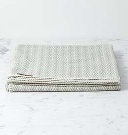 Organic Cotton Herringbone Throw - Grey - 55 x 63""