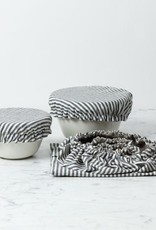 Reusable Cloth Dish Covers - Natural and Grey Stripe Linen - Set of 5