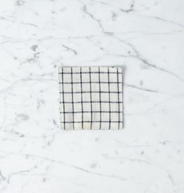Lithuanian Linen Coaster - Jenn Cream with Black Check