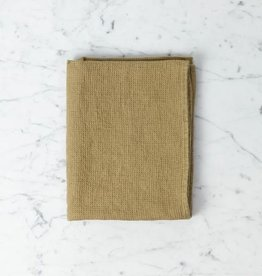 """Linge Particulier Light Washed French Linen Waffle Mini Spa or Hand Towel - Curry - 24 x 40"""""""