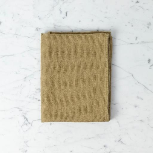 """Light Washed French Linen Waffle Mini Spa or Hand Towel - Curry - 24 x 40"""""""