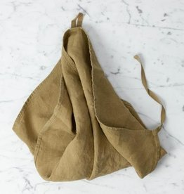 """Linge Particulier Washed French Linen Dish or Hand Towel with Hidden Apron Strings - Curry - 22 x 30"""""""