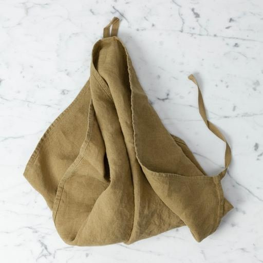 Linge Particulier Washed French Linen Dish or Hand Towel with Hidden Apron Strings - Curry - 22 x 30 in