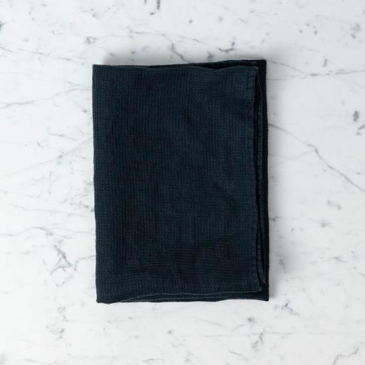 Light Washed French Linen Waffle Mini Spa or Hand Towel - Black - 24 x 40""