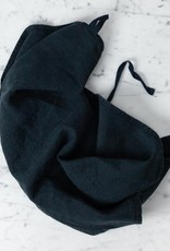 Linge Particulier Washed French Linen Dish or Hand Towel with Hidden Apron Strings - Black - 22 x 30 in