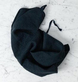 Washed French Linen Dish or Hand Towel with Hidden Apron Strings - Black - 22 x 30""