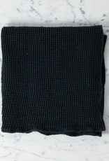 """Linge Particulier Washed French Linen + Cotton Thermal Waffle Hand Towel - Black - 32"""" x 20"""