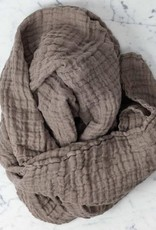 Linge Particulier Washed French Linen Gauze Scarf - Mouse Back Grey - 24 x 70 in