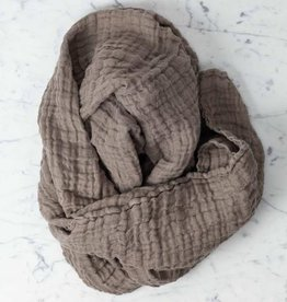 Linge Particulier Washed French Linen Gauze Scarf - Mouse Back Grey - 24 x 70""