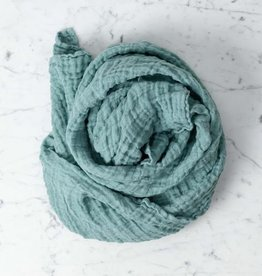 """Washed French Linen Gauze Scarf - Sage Green - 24 x 70"""""""