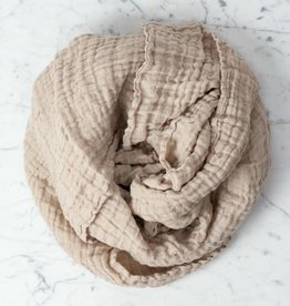"""Washed French Linen Gauze Scarf - Sand - 24 x 70"""""""