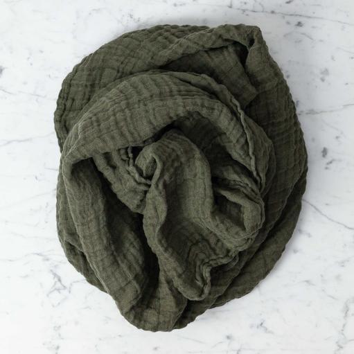 Washed French Linen Gauze Scarf - Kaki