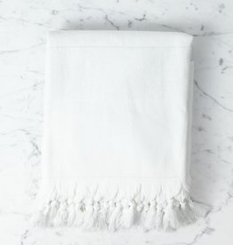 Nephele Cotton Turkish Bath Towel - White - 40 x 70 in