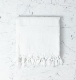 Nephele Cotton Turkish Hand Towel - White - 20 x 40 in