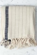 Ipek Cotton + Silk Turkish Towel - Cream with Black Stripe - 35 x 82 in
