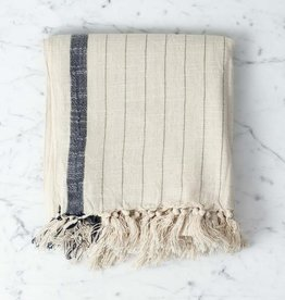 Ipek Cotton + Silk Turkish Towel - Cream with Black Stripe - 35 x 82 in