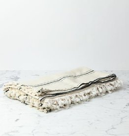 Rodos Cotton Turkish Blanket - Cream and Black Stripe - 80 x 95 in