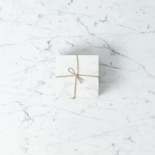 White Marble Set of 4 Square Coasters