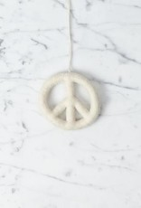 Hand Felted Peace Sign Ornament - White