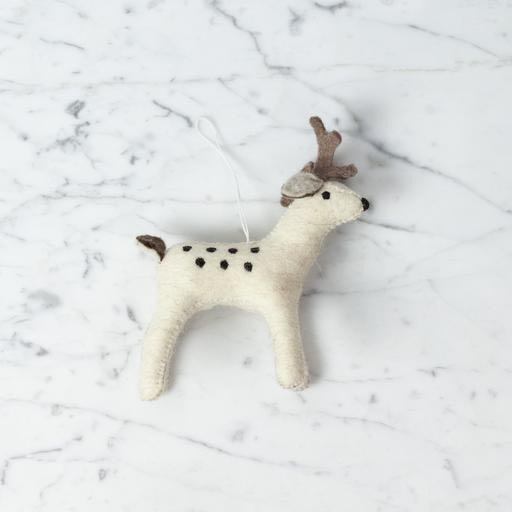 Hand Felted Gentle Buck Ornament - White