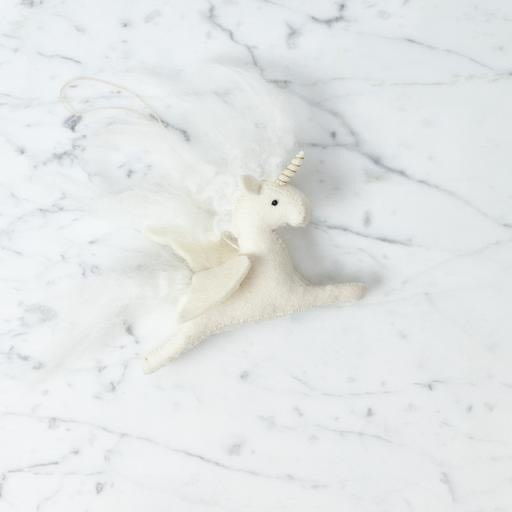 Hand Felted Magical Unicorn Ornament - White