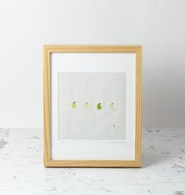 Hand Embroidered Pears on Antique French Linen