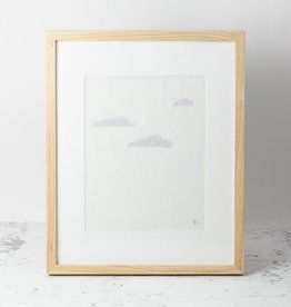 Hand Embroidered Clouds on Antique French Linen