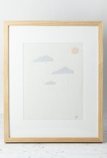 Hand Embroidered Clouds with Moon on Antique French Linen