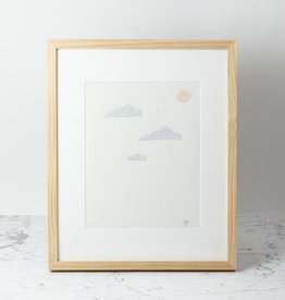 Elm Street Textiles Hand Embroidered Clouds with Moon on Antique French Linen