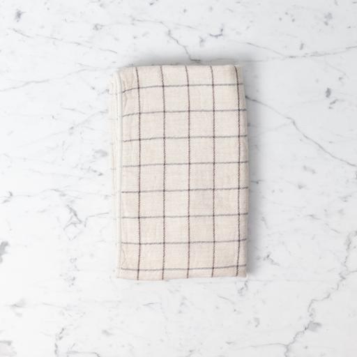 Japanese Grid Check Graph Hand Towel - Earl Grey