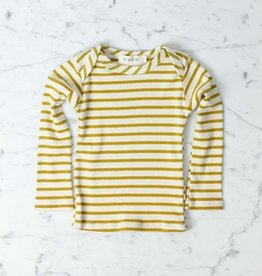 Mabo Kids Organic Cotton Long Sleeve Tee Shirt - Natural + Chartreuse Stripe - 3 Month