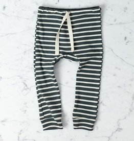 Mabo Kids Organic Cotton Leggings - Charcoal + Natural Stripe - 12 Month