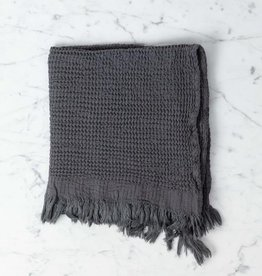 Thalassa Home Caria Soft Waffle Turkish Cotton + Bamboo Hand Towel - Charcoal - 20 x 36 in