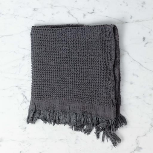 Caria Soft Waffle Turkish Cotton + Bamboo Hand Towel - Charcoal - 20 x 36 in
