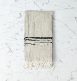 Hera Fine Turkish Linen + Cotton Mini Towel - Stone with Grey Stripe - 12 x 20 in