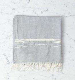 Thalassa Home Hera Fine Turkish Linen + Cotton Hand Towel - Grey with White Stripe - 18 x 36 in